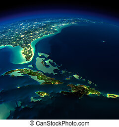 Night Earth. Bermuda Triangle area - Highly detailed Earth,...