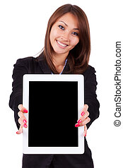 Portrait of a young beautiful asian business woman holding a...