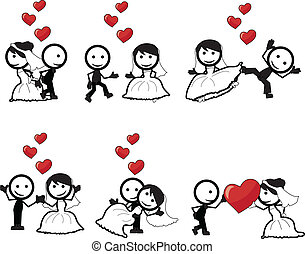 stick figure wedding - stick figure lovers with different...