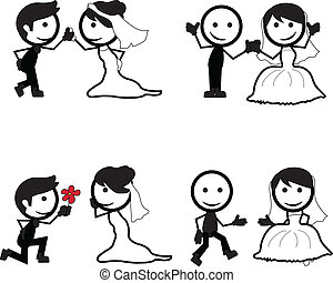 stick figure wedding couples with different pose