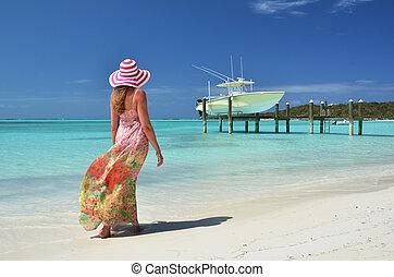 menina, praia, Exuma, Bahamas