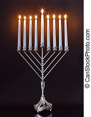 Hanukkah Menorah / Hanukkah Candles - Silver Hanukkah...