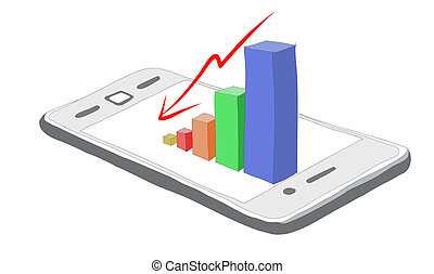 Smartphone business graph chart on a white background