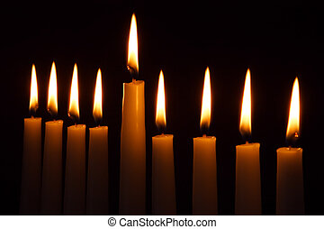 Hanukkah Candles - Hanukkah candles all candle light on the...