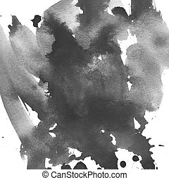 Black Abstract watercolor art hand paint on white background