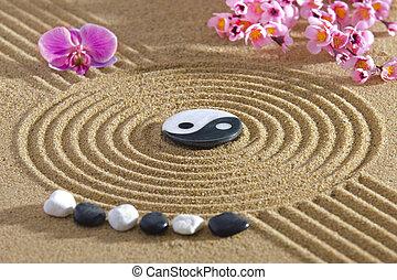 Japan zen garden with yin and yang