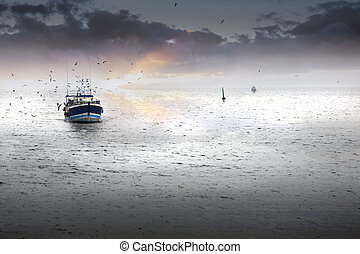 Homecoming - Tired fishing fleet getting back, France near...