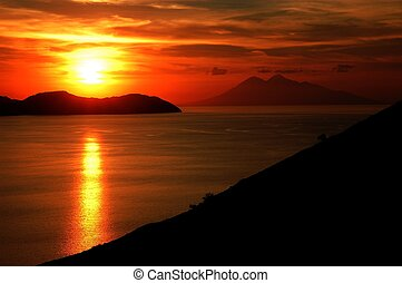 Sunset sea in komodo islands - Komodo island national park...