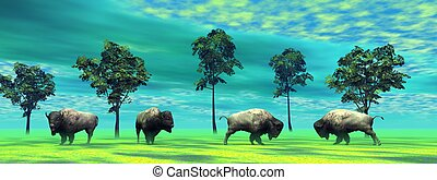 bisons and trees and sky green