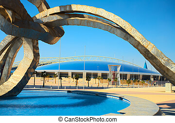 Khalifa Sports Stadium - Outside Khalifa sports stadium in...