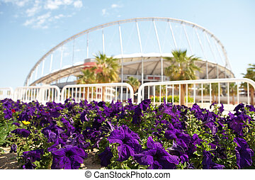 Khalifa Sports Stadium - Flowering flowers outside Khalifa...