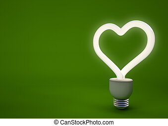 3d render of a heart shaped energy saving light bulb