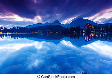 lake - Mountain lake in National Park High Tatra Dramatic...