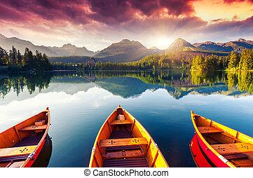 lake - Mountain lake in National Park High Tatra. Dramatic...