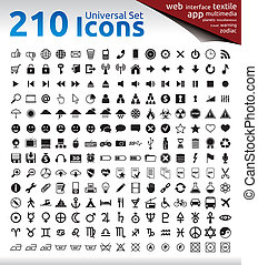 210 Black Icons - 210 Universal Icons for Web, Multimedia,...