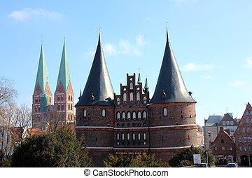 Lubeck - Holsten Gate, Lubeck old town, Schleswig-Holstein,...