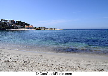 Sand beach in bandol, france - Blue sandy beach and sea in...
