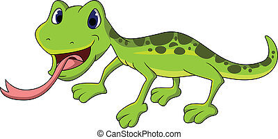 cute lizard cartoon - vector illustration of cute lizard...