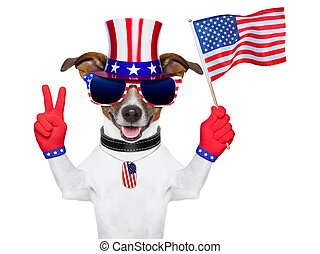 usa american dog - american dog with peace fingers waving...