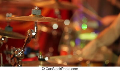 Drum performance - Musicians playing during a drum...