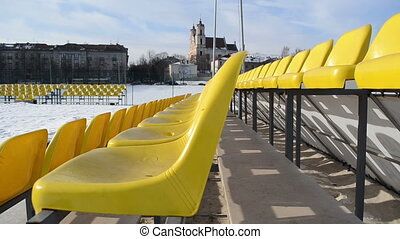 volleyball court chairs - volleyball court with rows of...
