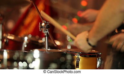 Drum band playing a rhythmical melody