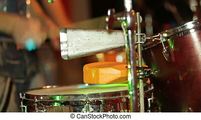 Playing drums. Close-up
