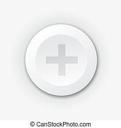 White plastic plus button