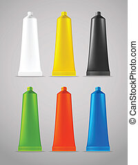 Collection of color plastic tubes