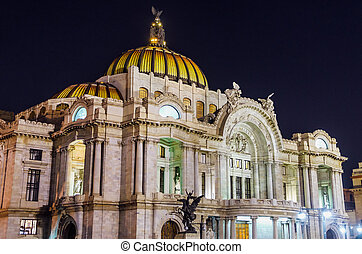 Palacio de Bellas Artes at Night - Palace of Fine Arts in...