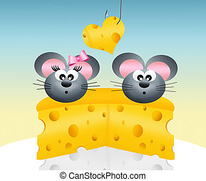 mice in love on the slice of cheese