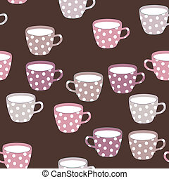 Seamless pattern with teacups. - Seamless pattern with...