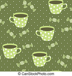 Seamless pattern with teacups and candies, vector cartoon...