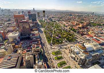 Mexico City Aerial View - An aerial view of Mexico City and...