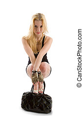 Blondie girl - Seated blondie girl with handbag