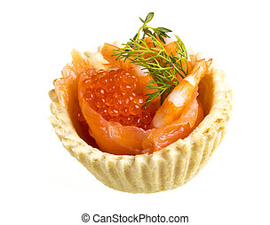 salmon appetizer with red caviar and shrimp
