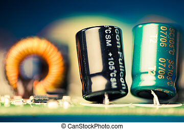 electronic components on a printed circuit board, shallow...