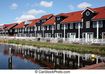 Pier houses in the port of Reitdiep in the city GroningenThe...