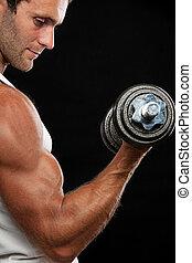 Dumbbell,  muscular, elevación, hombre