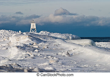 Great Lakes Lighthouse - Grand Marais Harbor Light - Winter...