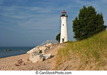 Great Lakes Light House Crisp Point Lighthouse Lake...