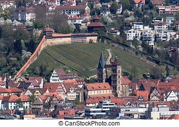 Aerial view Esslingen, Germany, shot from the other river...