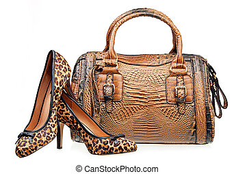 par, de, mujeres, zapatos, y, handbag, ,