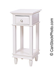 White side table with clipping path