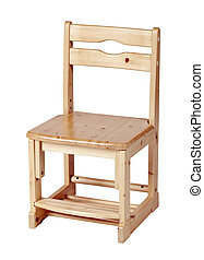 Kids wooden chair over white