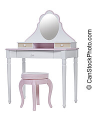 Elegant pink dressing table and stool isolated over white,...