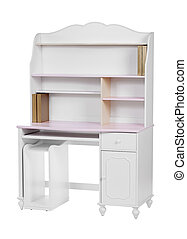 Wooden workstation (desk and bookcase) over white, with...