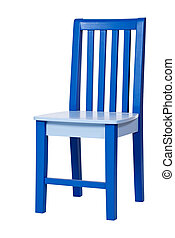 Blue wooden chair isolated