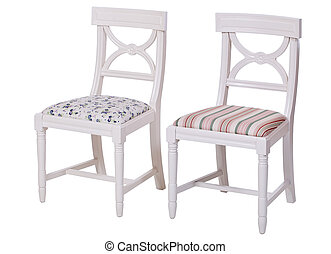 Two elegant dining chairs isolated