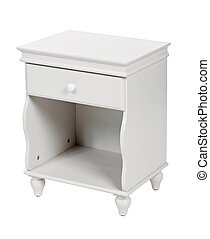 White wooden nightstand isolated, with path